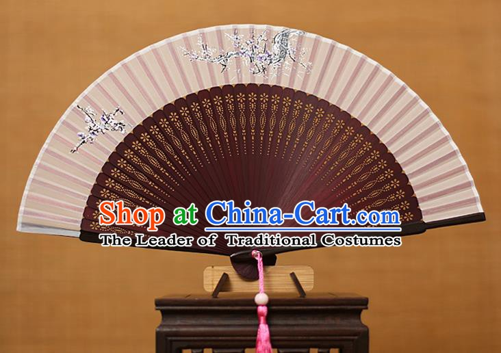 Traditional Chinese Crafts Printing Flowers Classical Folding Fan, China Handmade Wine Red Bamboo Silk Fans for Women