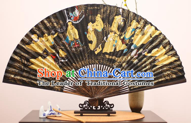 Traditional Chinese Crafts Printing Mulberry Paper Folding Fan, China Handmade Bamboo Palm Fans for Men