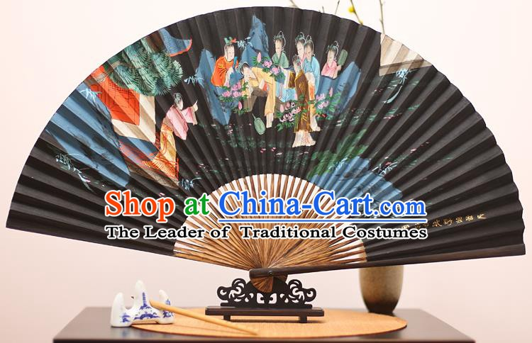 Traditional Chinese Crafts Printing Red Chamber Beauty Mulberry Paper Folding Fan, China Handmade Bamboo Palm Fans for Men