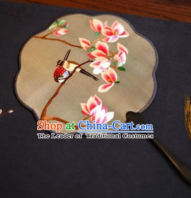 Traditional Chinese Crafts Suzhou Embroidery Palace Fan, China Princess Embroidered Magnolia Silk Fans for Women