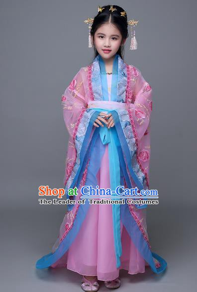 Traditional Chinese Tang Dynasty Palace Lady Costume, China Ancient Princess Hanfu Trailing Embroidered Clothing for Kids
