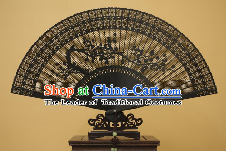 Traditional Chinese Crafts Hollow Out Plum Blossom Folding Fan, China Handmade Sandalwood Black Fans for Women