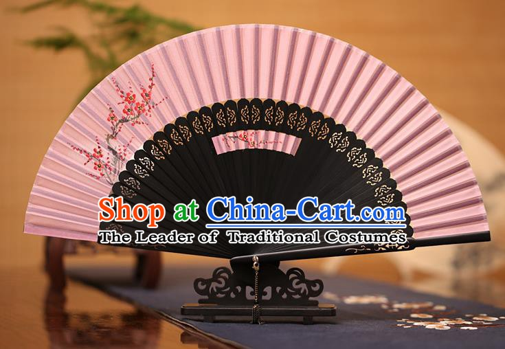 Traditional Chinese Crafts Printing Plum Blossom Folding Fan, China Handmade Classical Pink Silk Fans for Women
