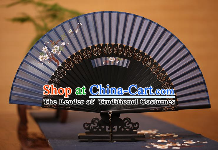 Traditional Chinese Crafts Printing Plum Blossom Folding Fan, China Handmade Classical Navy Silk Fans for Women