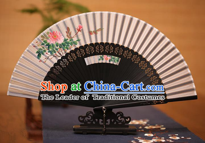 Traditional Chinese Crafts Printing Peony Folding Fan, China Handmade Classical Grey Silk Fans for Women