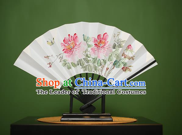Traditional Chinese Crafts Printing Peony Paper Folding Fan, China Handmade Classical Fans for Women