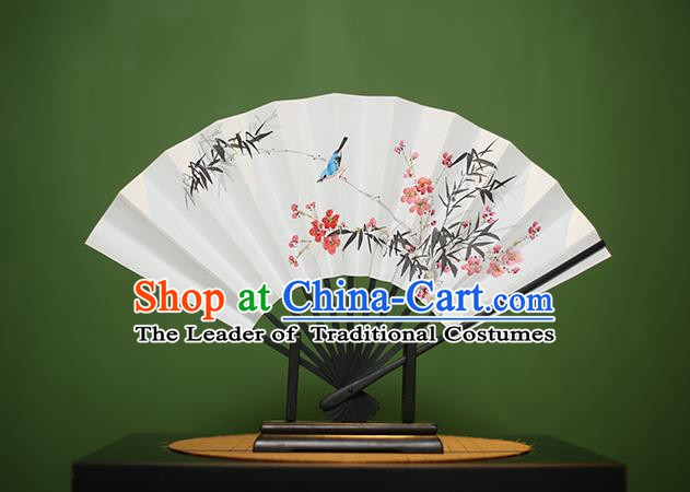 Traditional Chinese Crafts Printing Magpie Wintersweet Paper Folding Fan, China Handmade Classical Fans for Women