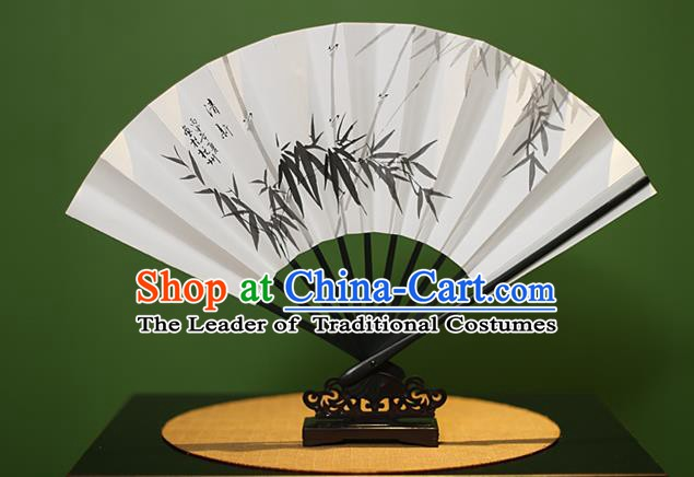 Traditional Chinese Crafts Printing Bamboo Leaf Paper Folding Fan, China Handmade Classical Fans for Women
