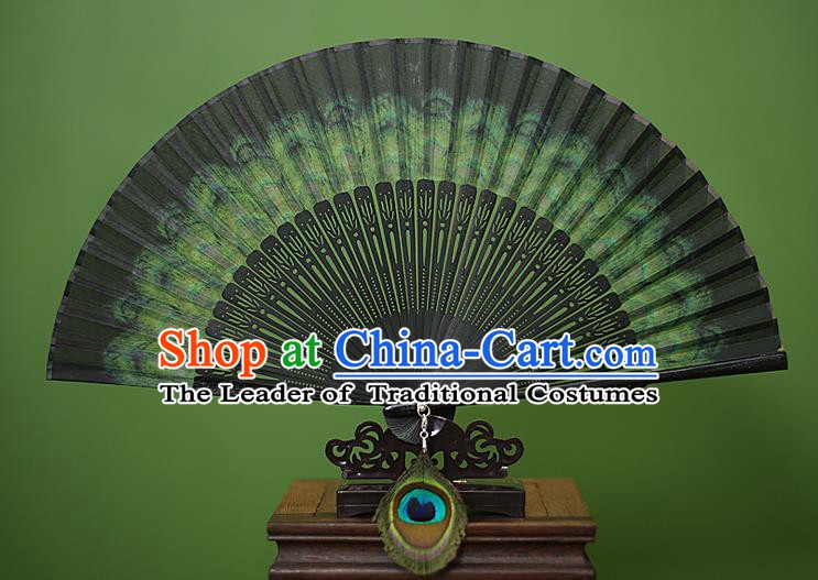 Traditional Chinese Crafts Peacock Spreads Tail Folding Fan, China Handmade Classical Silk Fans for Women