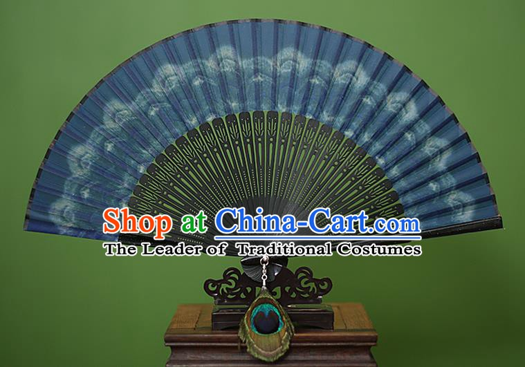 Traditional Chinese Crafts Peacock Spreads Tail Folding Fan, China Handmade Classical Blue Silk Fans for Women