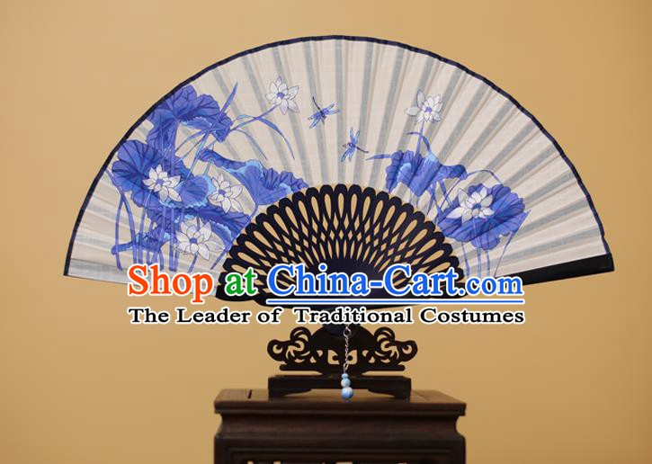 Traditional Chinese Crafts Printing Lotus Folding Fan, China Handmade Classical White Fans for Women