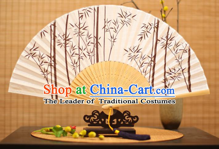 Traditional Chinese Crafts Printing Bamboo Folding Fan, China Handmade Classical Fans for Women