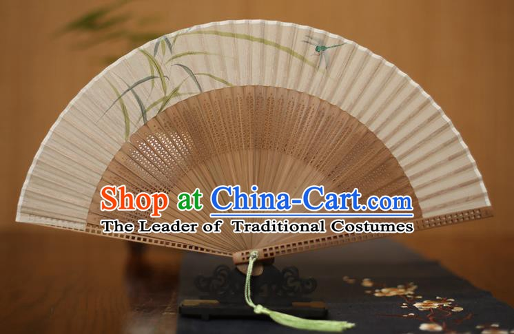 Traditional Chinese Crafts Printing Folding Fan, China Handmade Classical Silk Pierced Fans for Women
