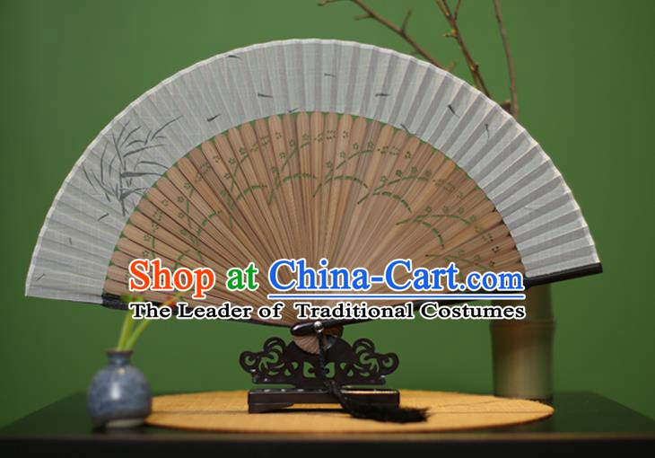 Traditional Chinese Crafts Printing Bamboo Linen Folding Fan, China Handmade Classical Fans for Women