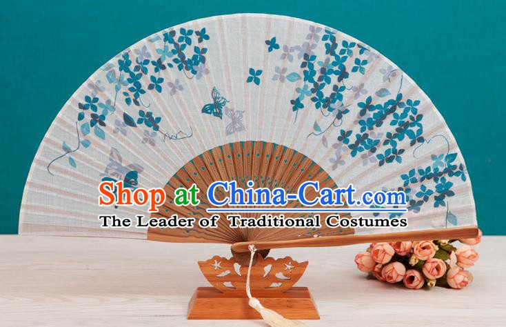 Traditional Chinese Crafts Printing Butterfly Flowers Linen Folding Fan, China Handmade Classical Fans for Women