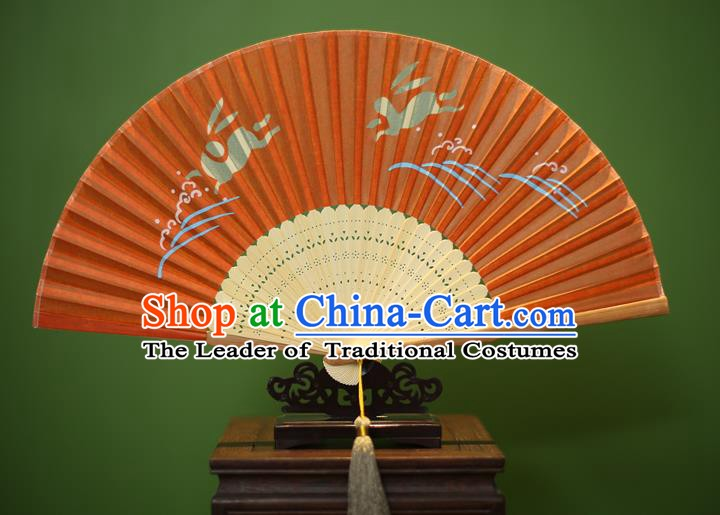Traditional Chinese Crafts Printing Rabbit Folding Fan, China Handmade Classical Orange Silk Fans for Women