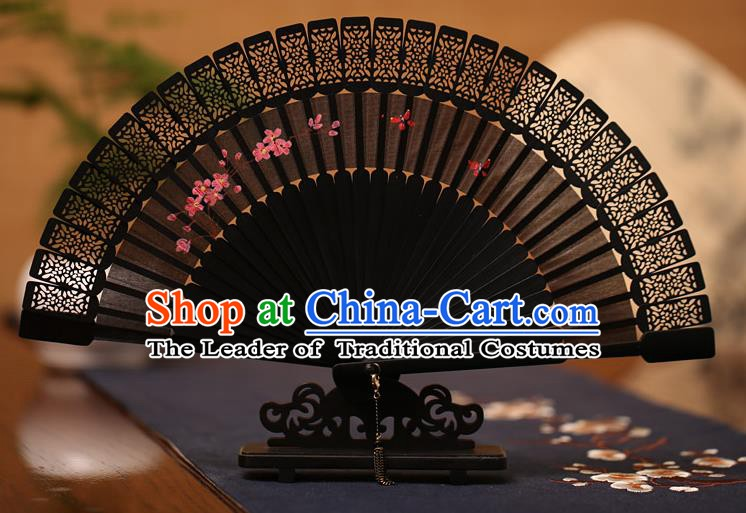 Traditional Chinese Crafts Hand Painting Folding Fan, China Handmade Classical Carving Black Fans for Women