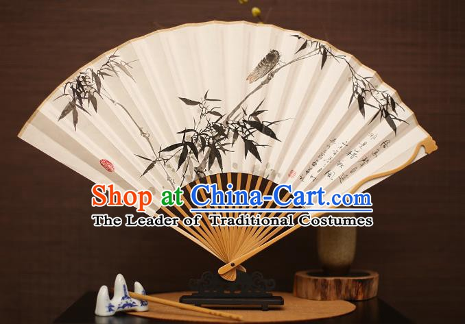 Traditional Chinese Crafts Collectables Autograph Folding Fan, China Handmade Classical Printing Bamboo Xuan Paper Fans for Men