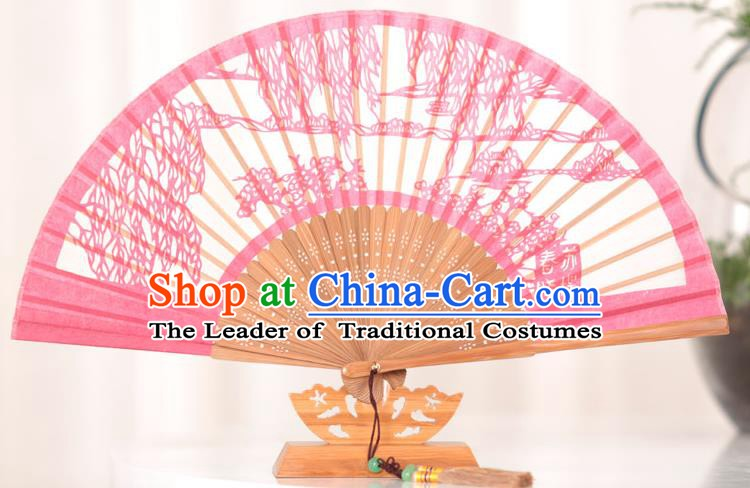 Traditional Chinese Crafts Su Causeway Folding Fan, China Handmade Classical Pink Silk Fans for Women