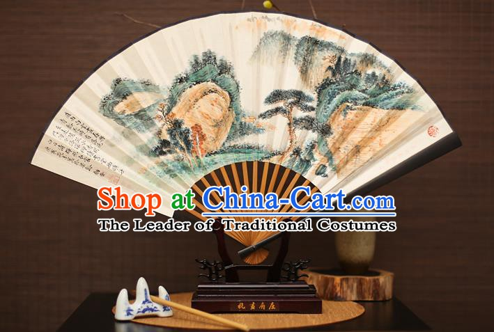 Traditional Chinese Crafts Landscape Painting Paper Folding Fan, China Handmade Ebony Fans for Men