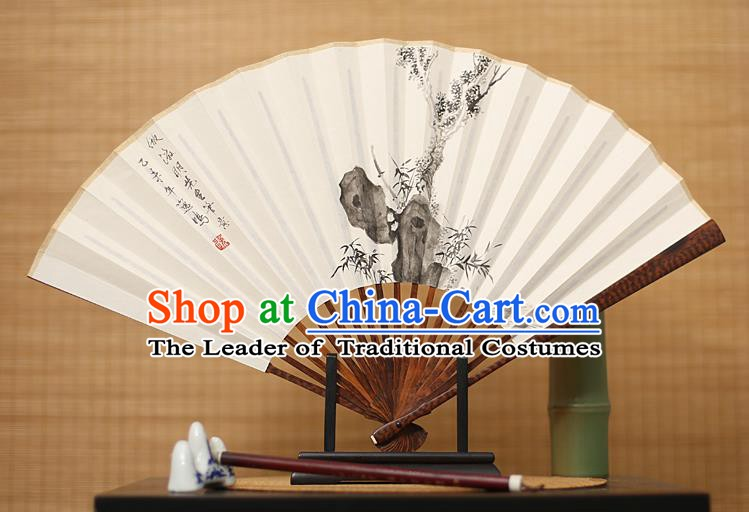 Traditional Chinese Crafts Ink Painting Bamboo Paper Folding Fan, China Handmade Snakewood Fans for Men