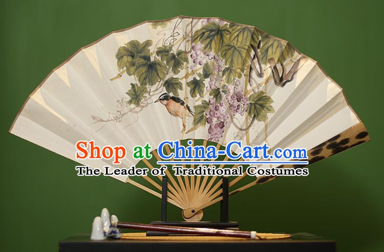 Traditional Chinese Crafts Ink Painting Grape Paper Folding Fan, China Handmade Mottled Bamboo Fans for Men