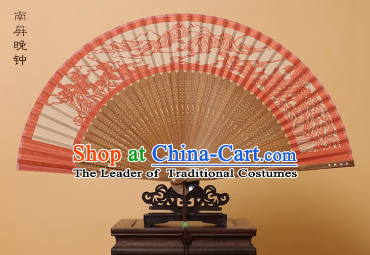 Traditional Chinese Crafts Landscape Scenery Folding Fan, China Handmade Scissor-Cut Red Silk Fans for Women