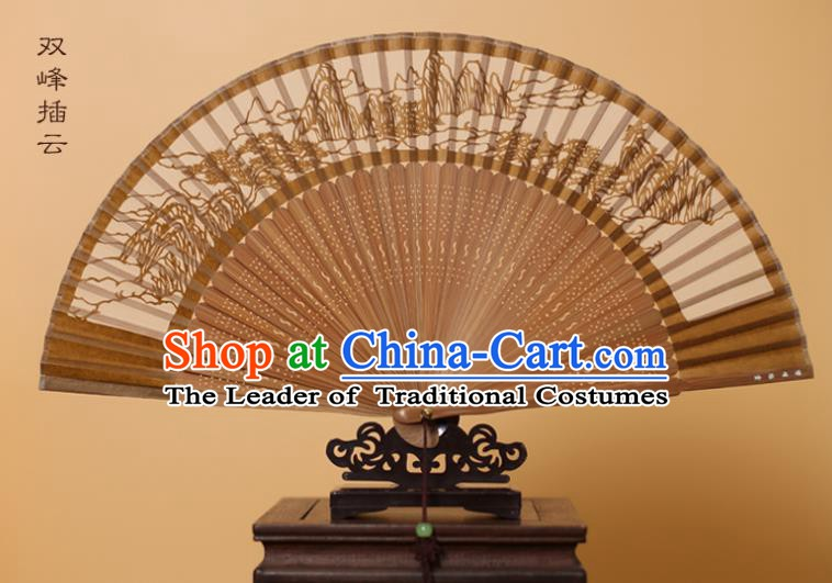 Traditional Chinese Crafts Mountain Scenery Folding Fan, China Handmade Scissor-Cut Brown Silk Fans for Women