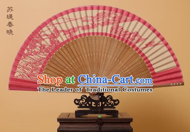 Traditional Chinese Crafts Su Causeway Spring Scenery Folding Fan, China Handmade Scissor-Cut Rosy Silk Fans for Women