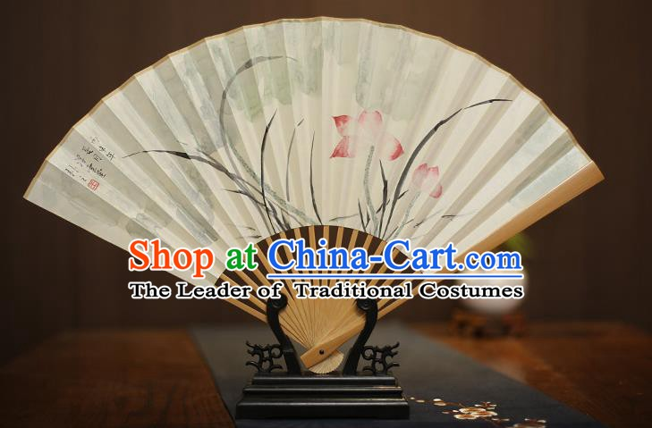 Traditional Chinese Crafts Collectables Autograph Xuan Paper Folding Fan, China Handmade Painting Lotus Fans for Men