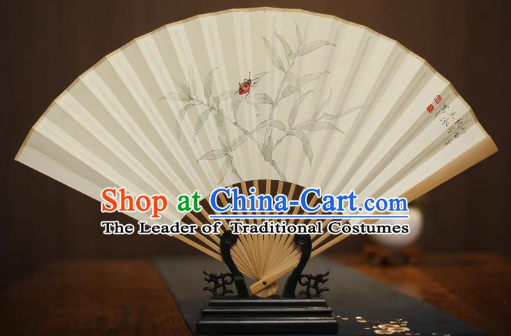 Traditional Chinese Crafts Collectables Autograph Xuan Paper Folding Fan, China Handmade Painting Fans for Men