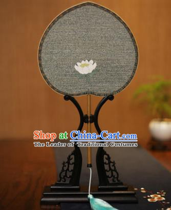 Traditional Chinese Crafts Tapestry Silk Palace Fan, China Printing Princess Lotus Silk Flat Peach Fans for Women