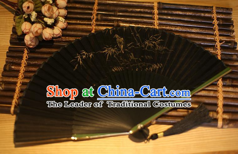 Traditional Chinese Crafts Printing Bamboo Classical Folding Fan, China Handmade Black Silk Fans for Women
