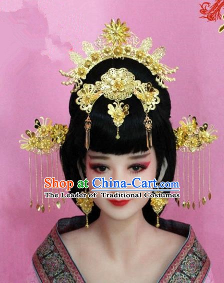 Traditional Chinese Ancient Hair Accessories Xiuhe Suit Phoenix Coronet, China Bride Hairpins Headwear for Women