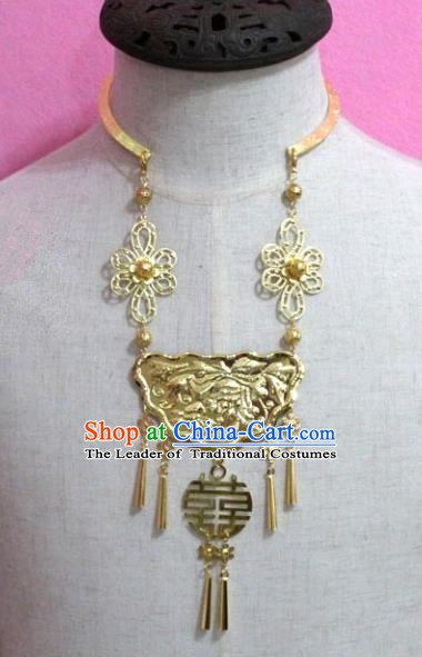 Traditional Chinese Handmade Jewelry Accessories Ancient Bride Golden Tassel Necklace Longevity Lock for Women