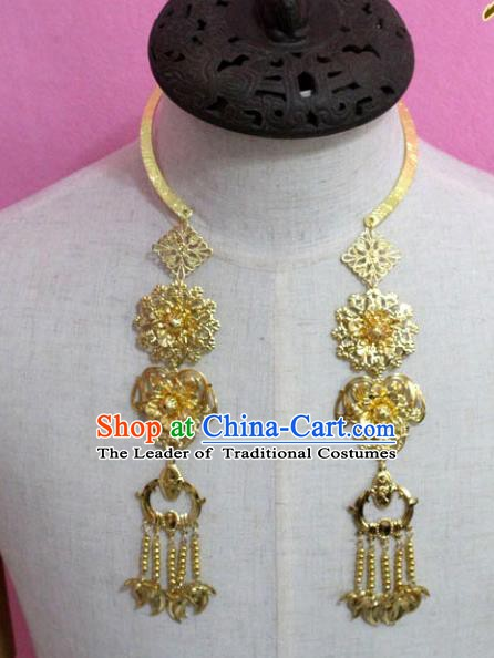 Traditional Chinese Handmade Jewelry Accessories Ancient Bride Necklace Hanfu Golden Flowers Necklet for Women