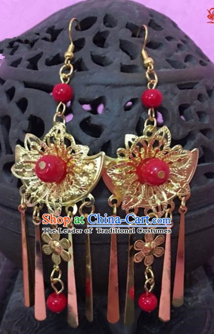 Traditional Chinese Handmade Jewelry Accessories Xiuhe Suit Bride Red Beads Earrings Hanfu Eardrop for Women
