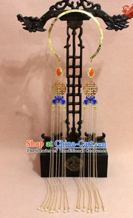 Traditional Chinese Handmade Jewelry Accessories Ancient Bride Necklace Hanfu Cloisonn Lotus Tassel Necklet for Women