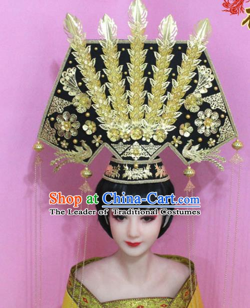 Traditional Chinese Handmade Hair Accessories Ancient Qing Dynasty Manchu Imperial Concubine Great Pull Fin Headwear for Women