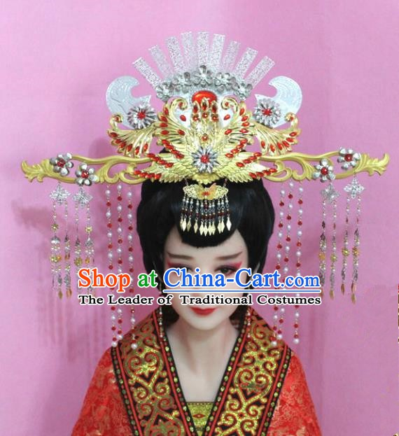 Traditional Chinese Handmade Hair Accessories Ancient Empress Hairpins Phoenix Coronet Complete Set for Women