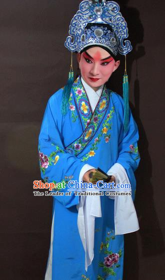 Traditional China Beijing Opera Niche Costume Blue Embroidered Robe, Chinese Peking Opera Gifted Scholar Clothing