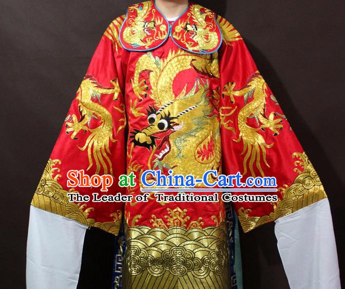 Traditional China Beijing Opera Emperor Costume Red Embroidered Robe, Chinese Peking Opera Gifted Scholar Embroidery Clothing