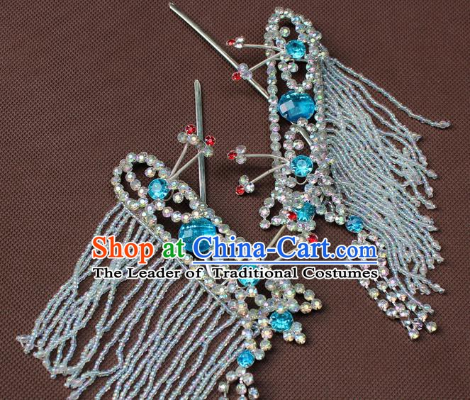 Traditional China Beijing Opera Actress Hair Accessories Blue Crystal Hairpins, Chinese Peking Opera Diva Headwear