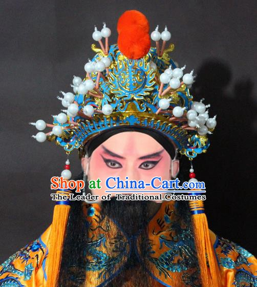 Traditional China Beijing Opera Emperor Hats, Chinese Peking Opera Royal Highness Helmet Headwear