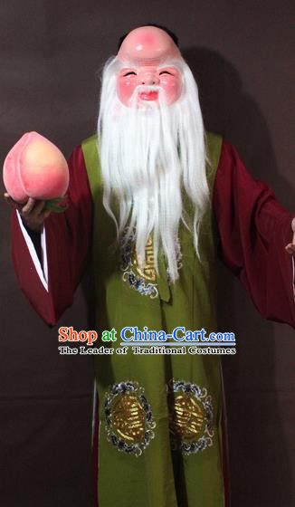 Traditional China Beijing Opera God of Longevity Costume Green Embroidered Robe, Chinese Peking Opera Immortal Gwanbok Clothing