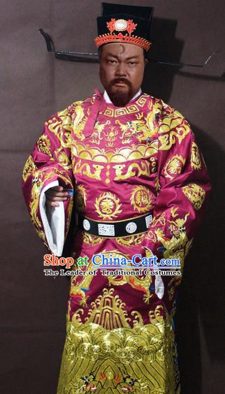 Traditional China Beijing Opera Prime Minister Embroidered Costume, Chinese Peking Opera Bao Zheng Gwanbok Embroidered Robe