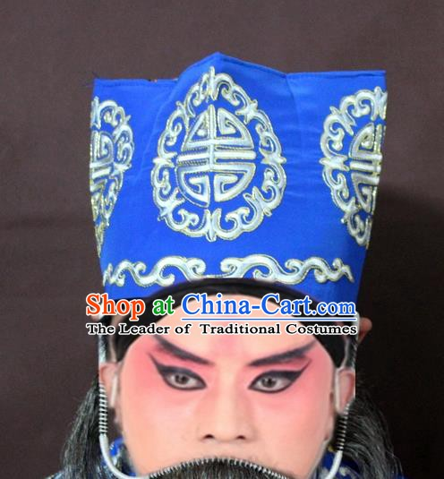 Traditional China Beijing Opera Ministry Councillor Embroidery Blue Hats, Chinese Peking Opera Old Men Embroidered Headwear