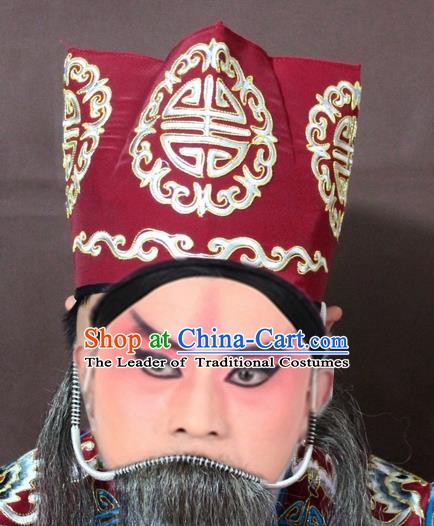 Traditional China Beijing Opera Ministry Councillor Embroidery Red Hats, Chinese Peking Opera Old Men Embroidered Headwear