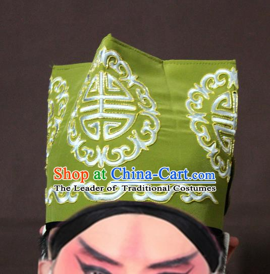 Traditional China Beijing Opera Ministry Councillor Embroidery Green Hats, Chinese Peking Opera Old Men Embroidered Headwear