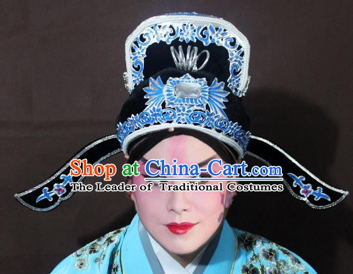 Traditional China Beijing Opera Niche Embroidery Hats, Chinese Peking Opera Scholar Headwear